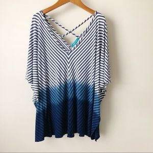 River + Sky Striped Ombré Strappy Back Dolman